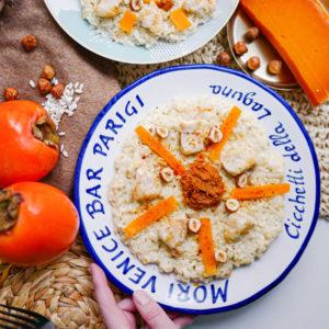 Risotto crémeux lapin, mimolette & noisettes
